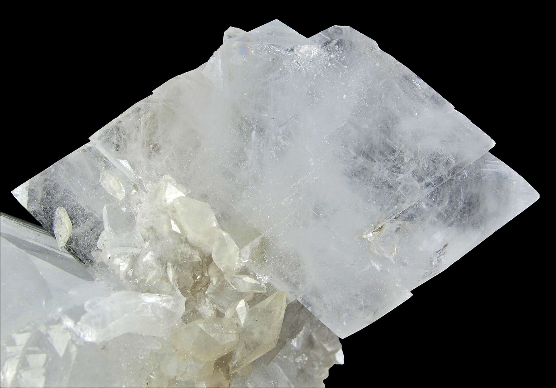 Two large tabular glassy gemmy colorless crystals celestine 7 8 cm