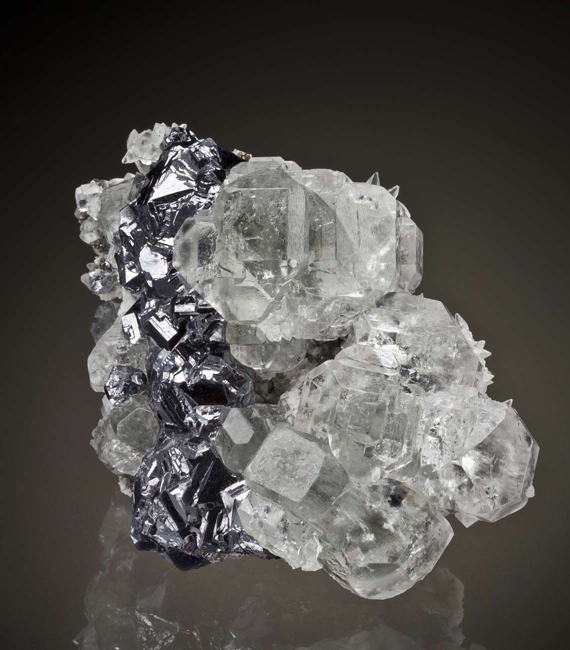 This jewel like cluster features brilliantly clustrous clear fluorites
