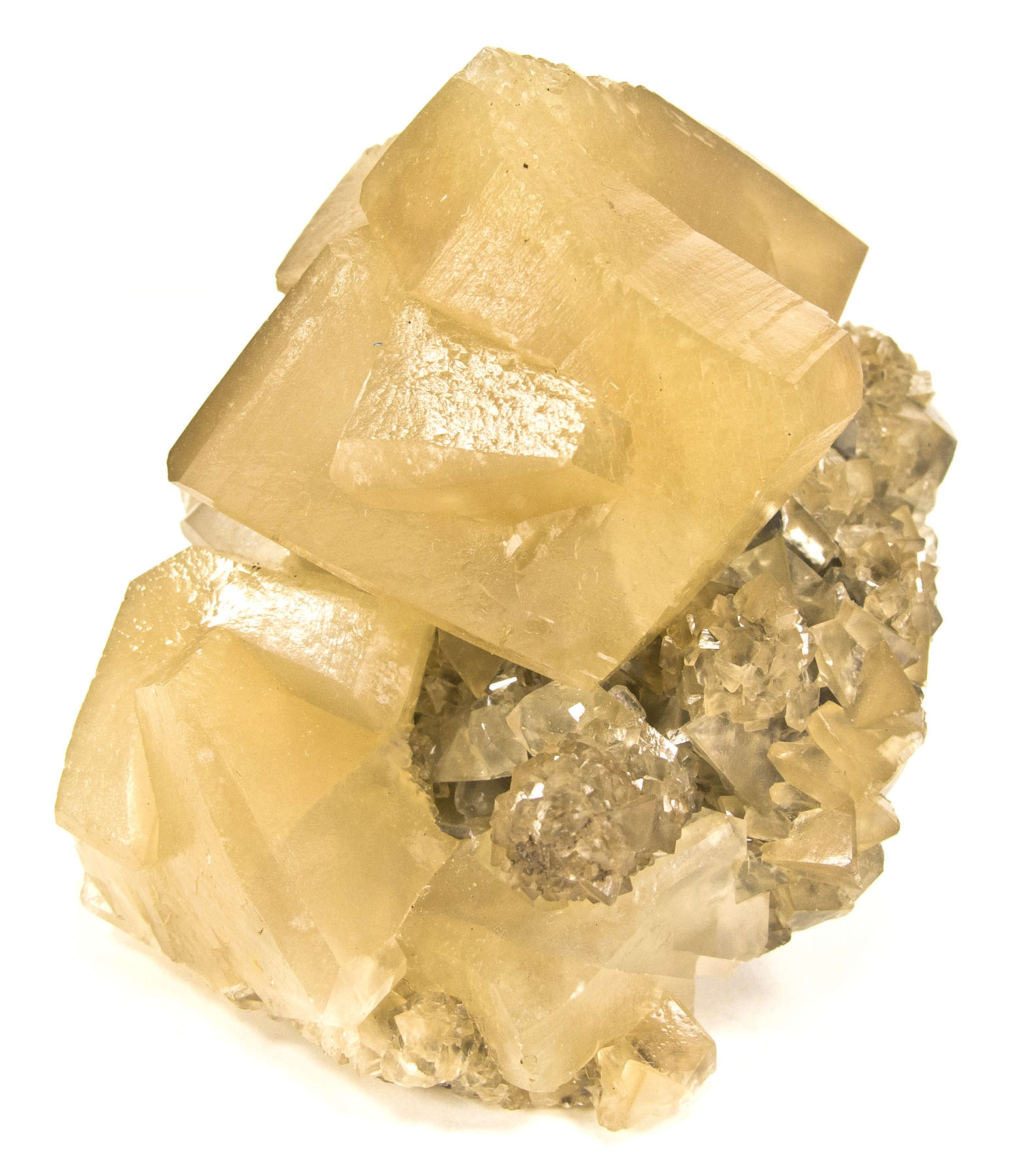 Emplaced matrix SHARP waxy translucent tan colored calcite rhombs 4 5