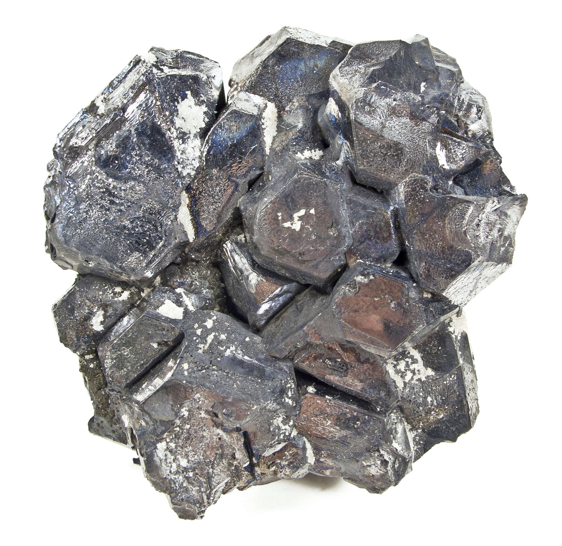 Robust spinel twinned metallic galena crystals 5 cm form city like