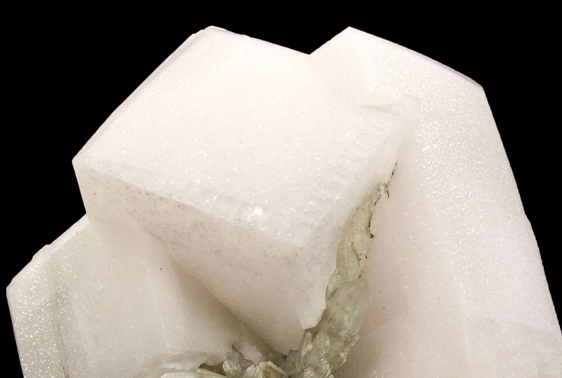 Aesthetically emplaced matrix massive calcite colorless translucent