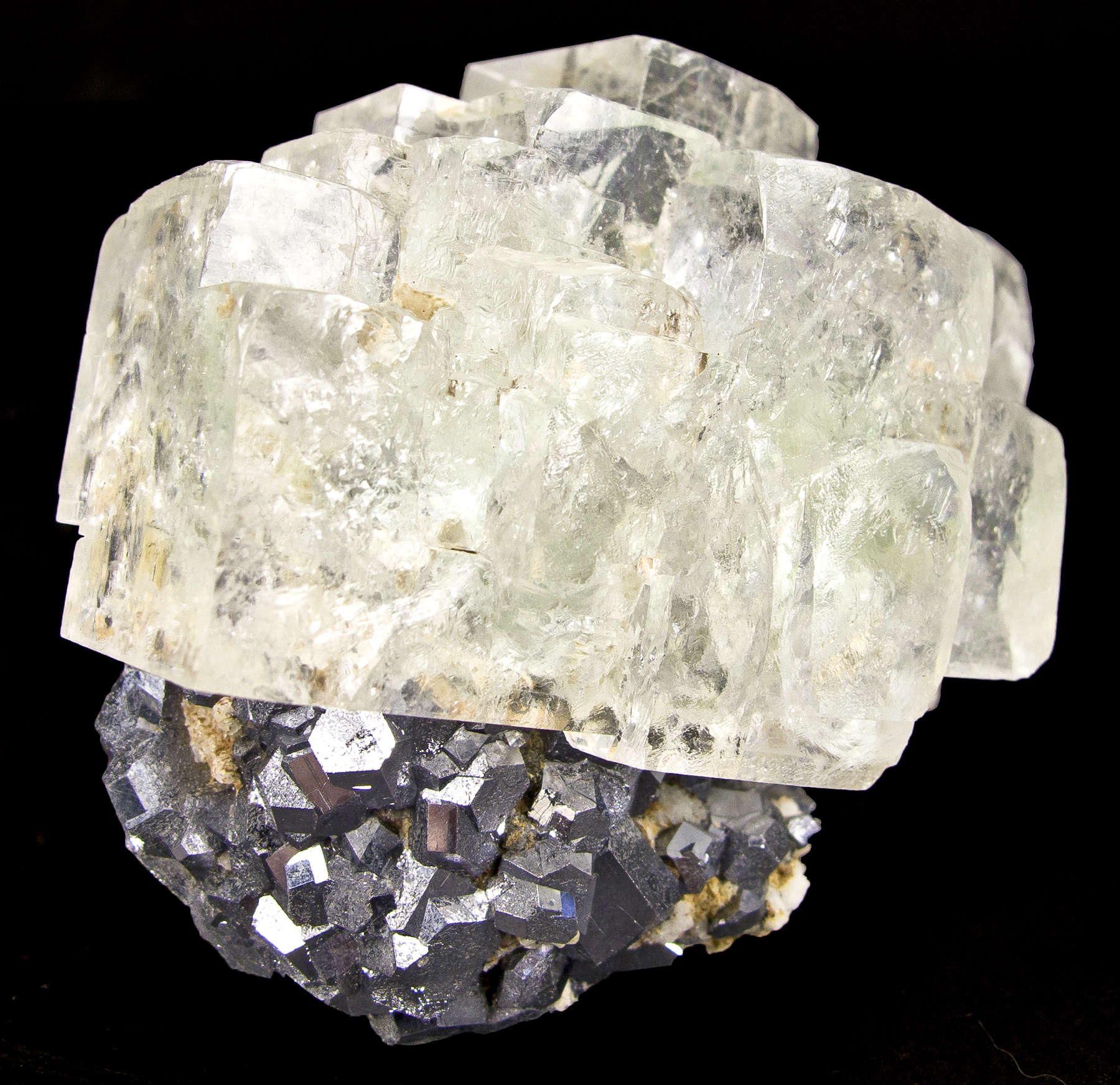 Superbly crystallized crust splendent metallic silvery galena crystals