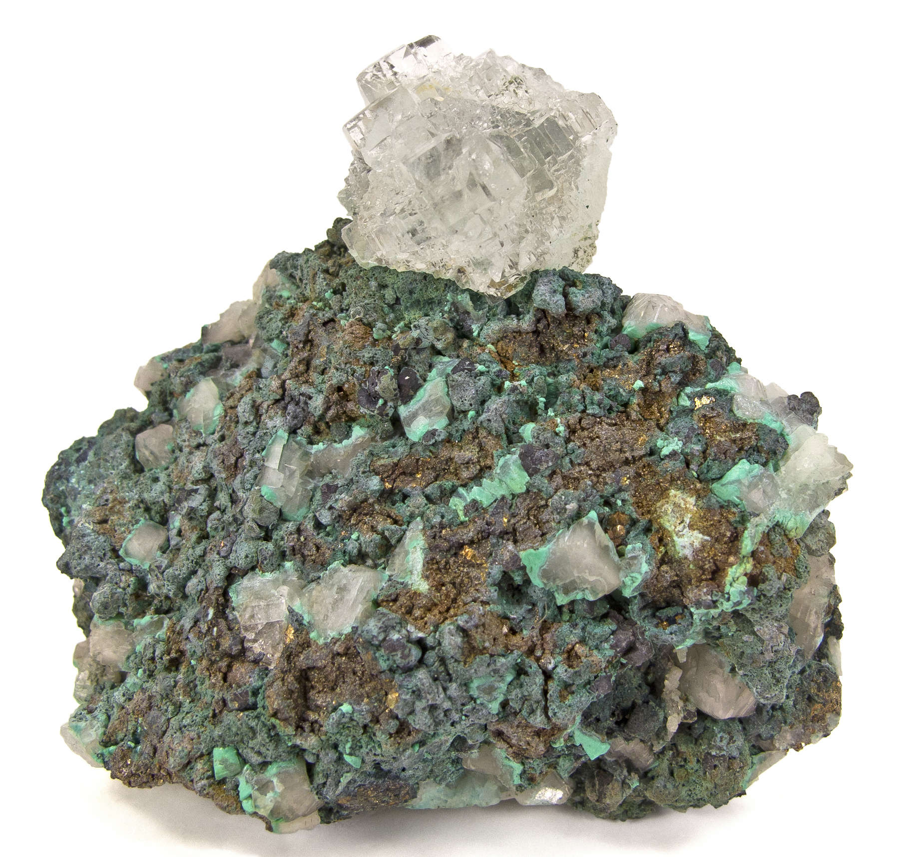 Chalcopyrite patinated green oxidation host spectacular glassy gemmy