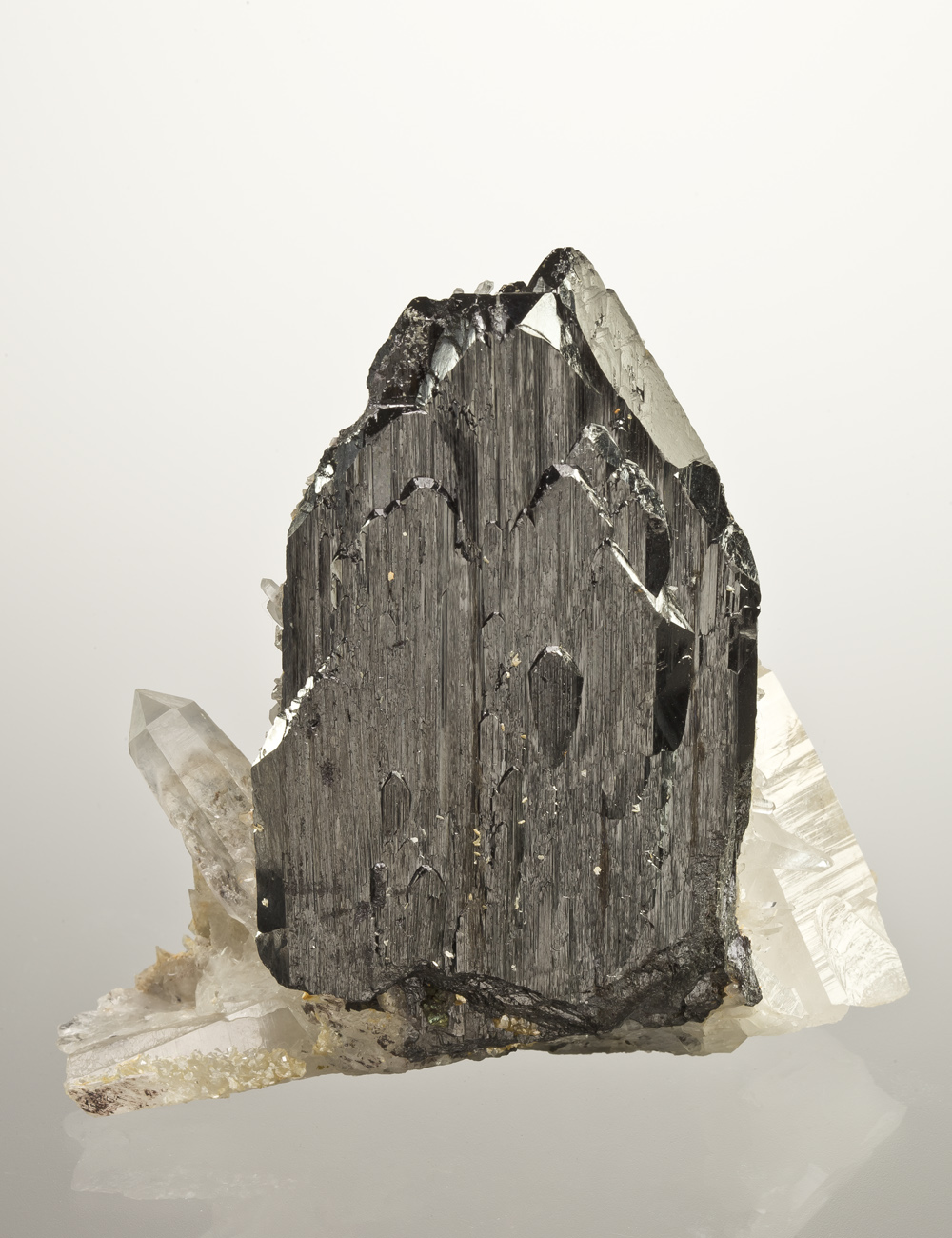 An unusual specimen features single sharp isolated ferberite crystal