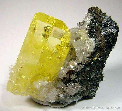 A resplendent crystal yellow gemmy Anglesite sitting attractively