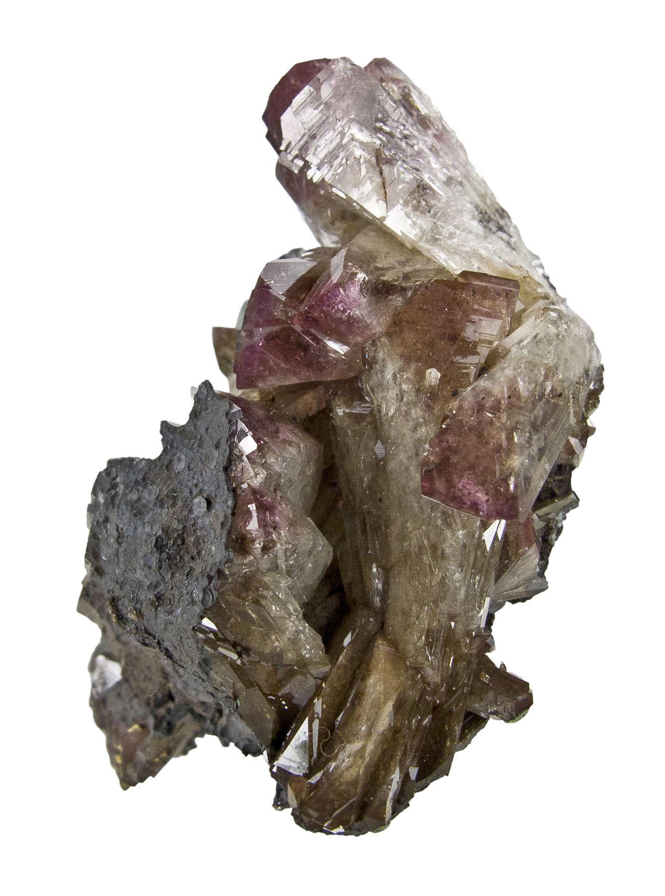 Perched high matrix manganese oxides host rock crystals manganoan