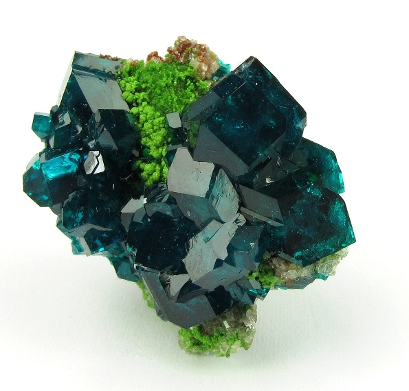 Superb thumbnail GEMMY highly lustrous Dioptase crystals framing