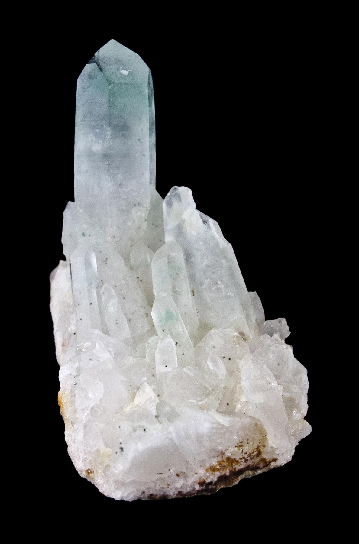 Perched vertically matrix milky quartz lesser crystals lustrous