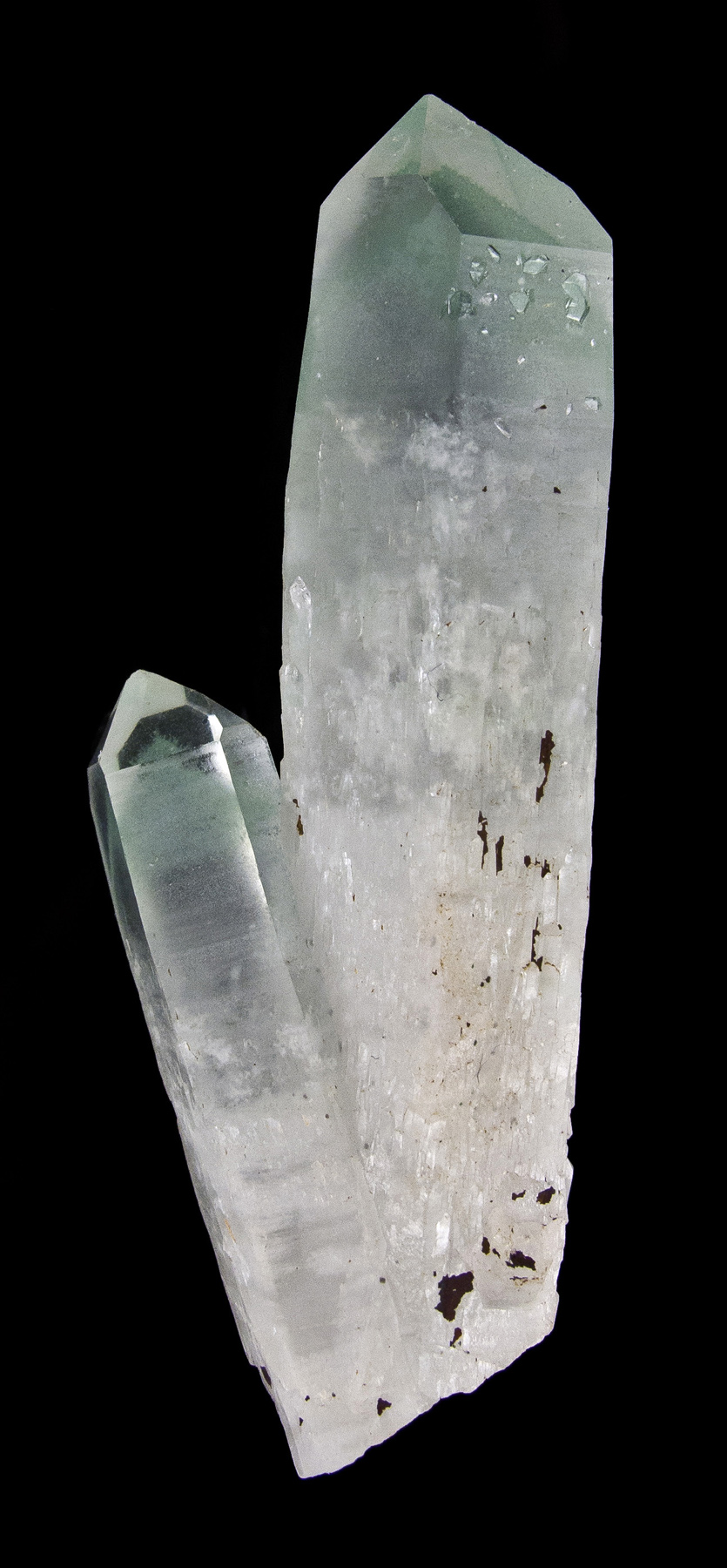 Two aesthetic lustrous translucent gemmy colorless quartz crystals