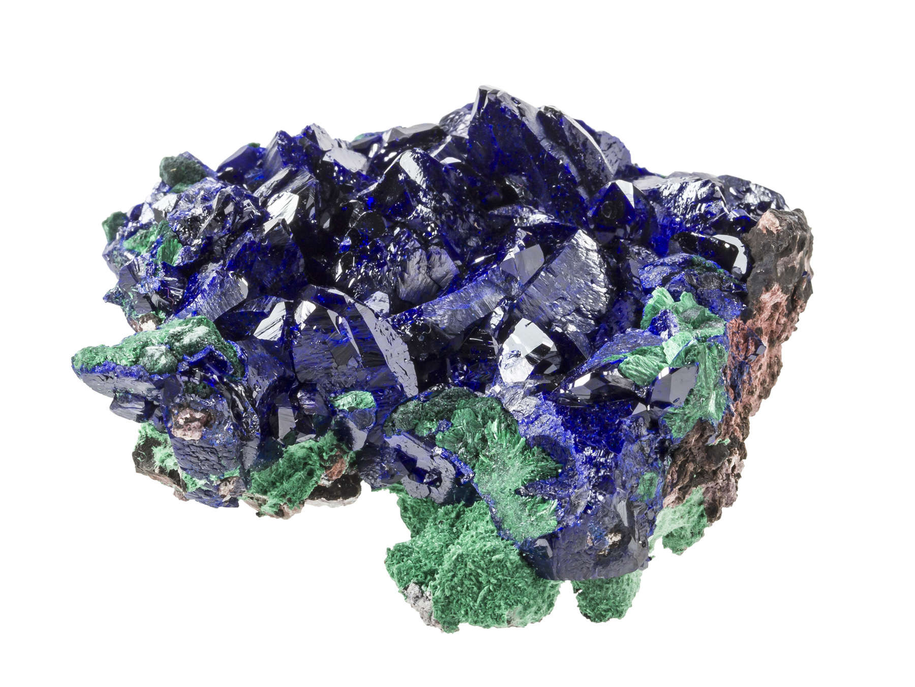 Shocking blue azurite crystals ringed bright malachite small cabinet