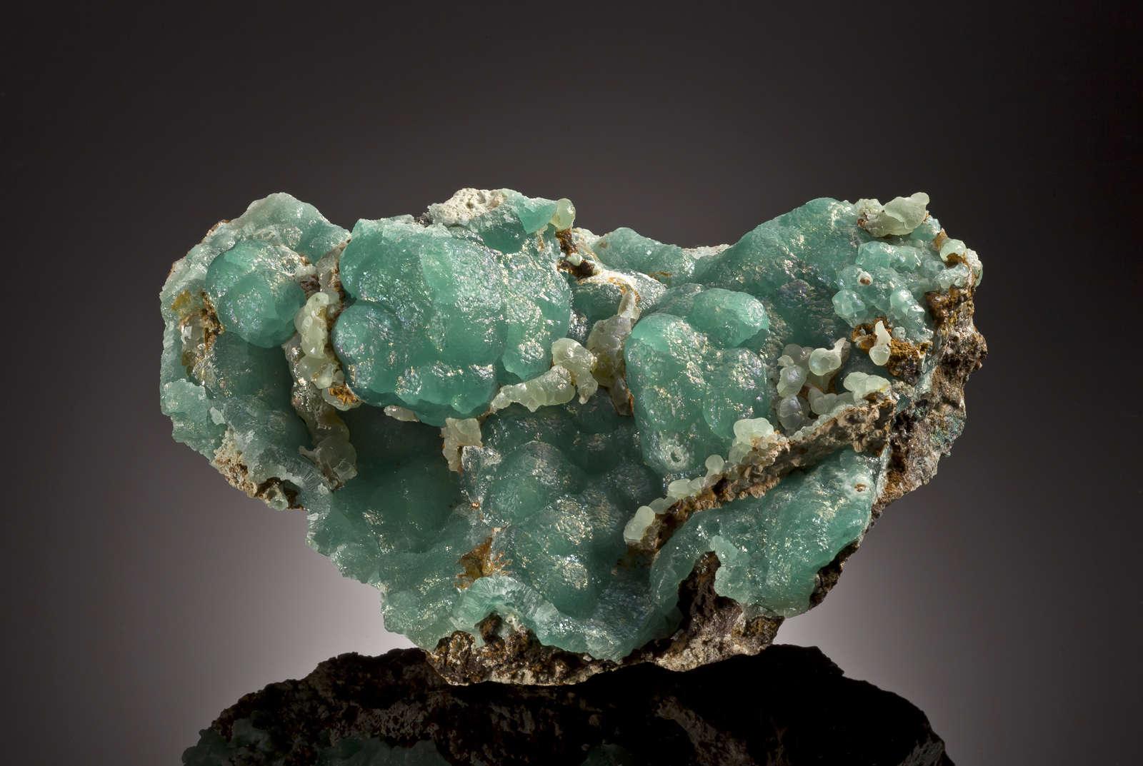 An unusually intense aqua sea blue color makes large smithsonite plate