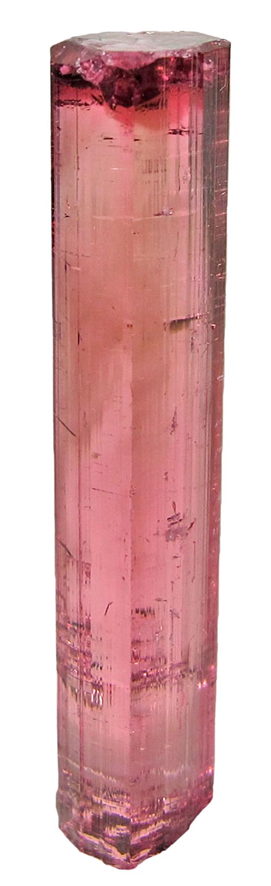 A limpid glassy gemmy raspberry red elbaite crystal It bi pyramidal