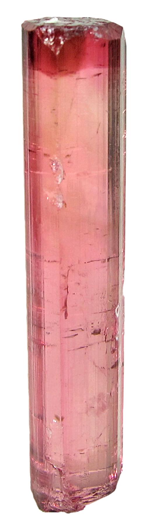 A limpid glassy gemmy rich raspberry red elbaite crystal bi pyramidal