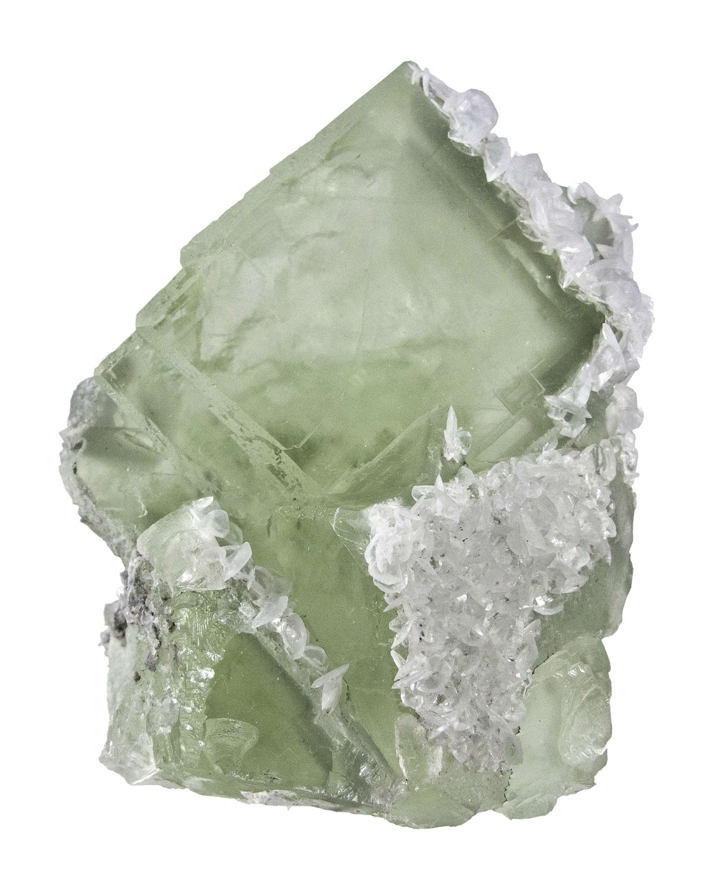Glassy gemmy light green modified cubes fluorite 4 9 cm edge partially