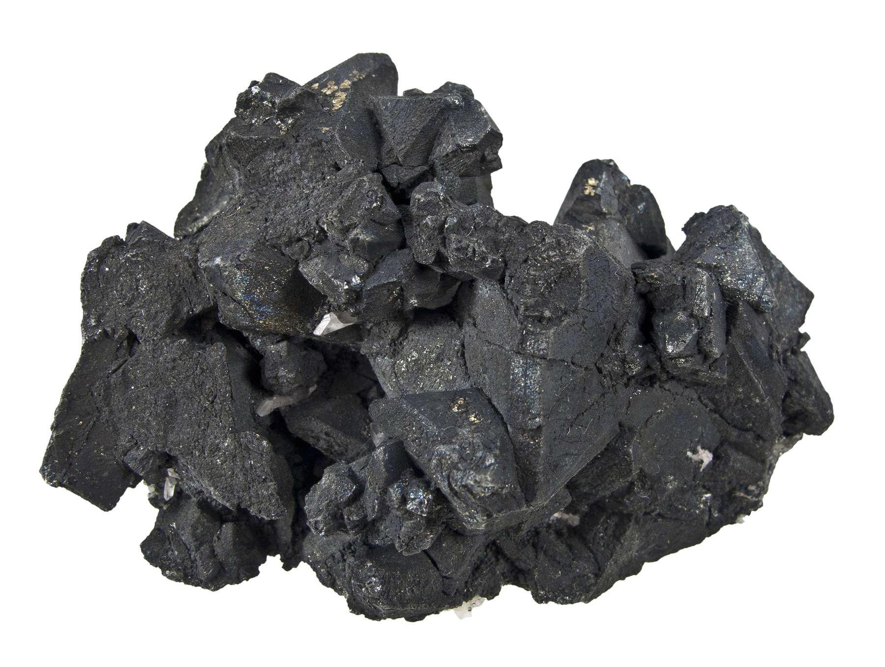 Intergrown octahedrons slightly lustrous black crystals tennantite 2 4