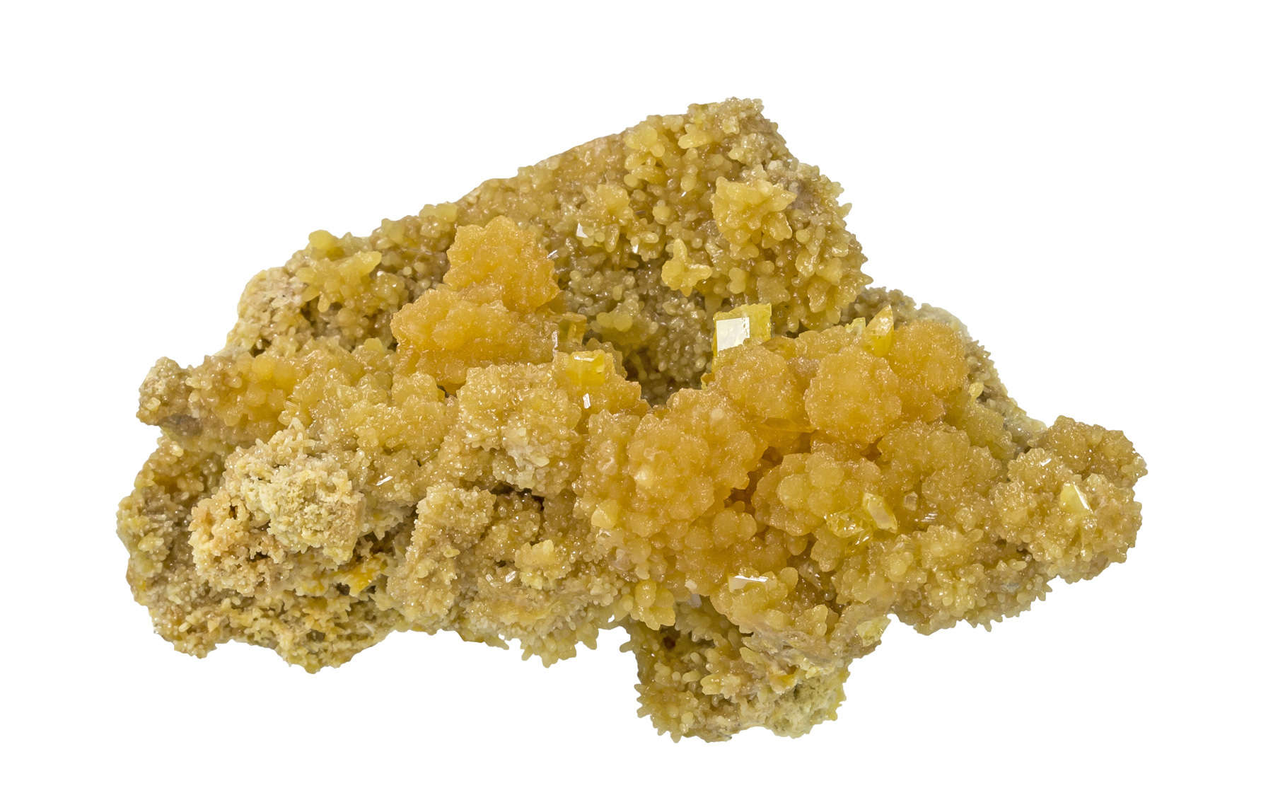An unusual 3 dimensional hillocky piece sugary mimetite small