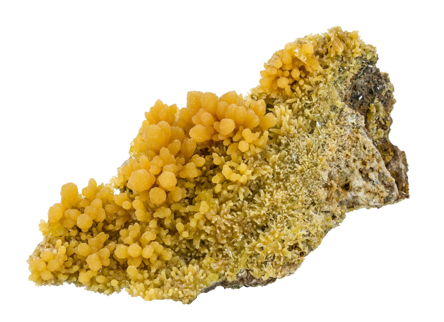 A large piece new pocket consists brilliantly yellow mimetite sugary