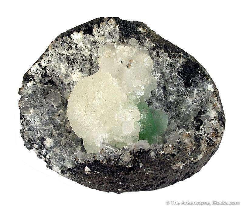 This combo specimen shows species formation basaltic vug Light emerald