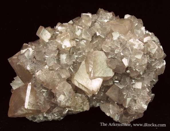 Lovely pastel pink rhombs Smithsonite densely cover large plate The