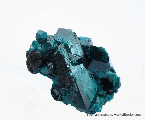 Classic Congolese Dioptase cluster featuring lustrous crystals
