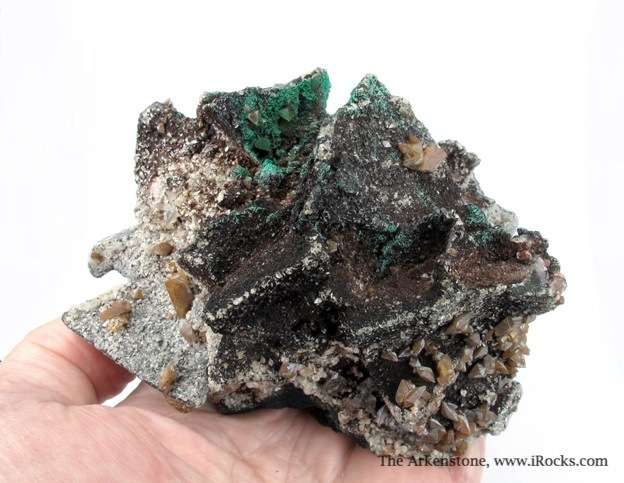 Impressive combination piece featuring Tennantite Wulfenite Malachite