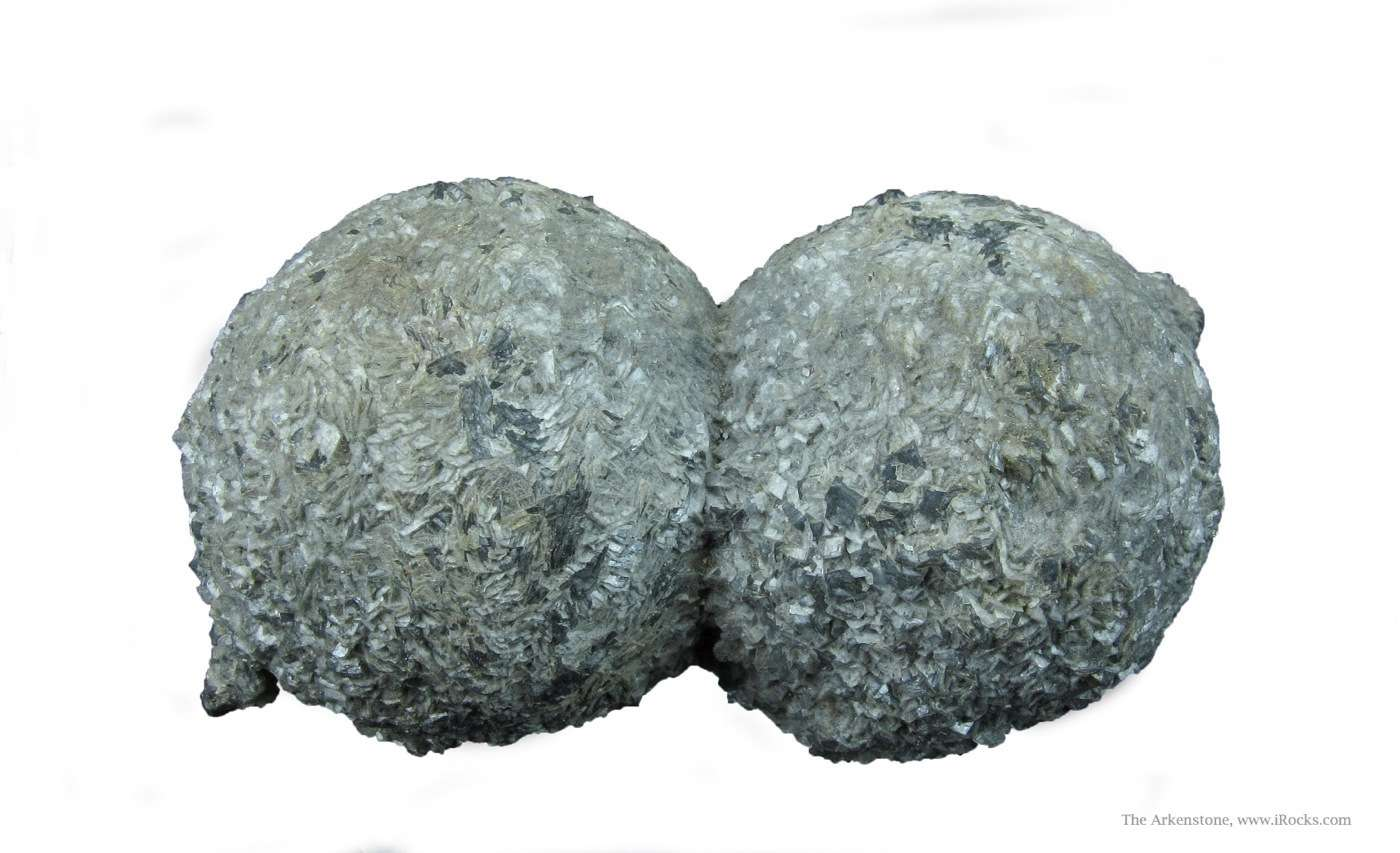 Perfectly symmetrical pair Calcite spheres tinted pretty grey color