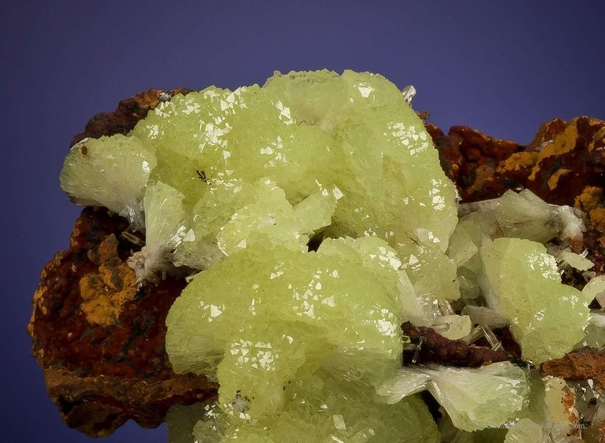 This large specimen dozens clusters pinwheel adamite crystals 3 cm