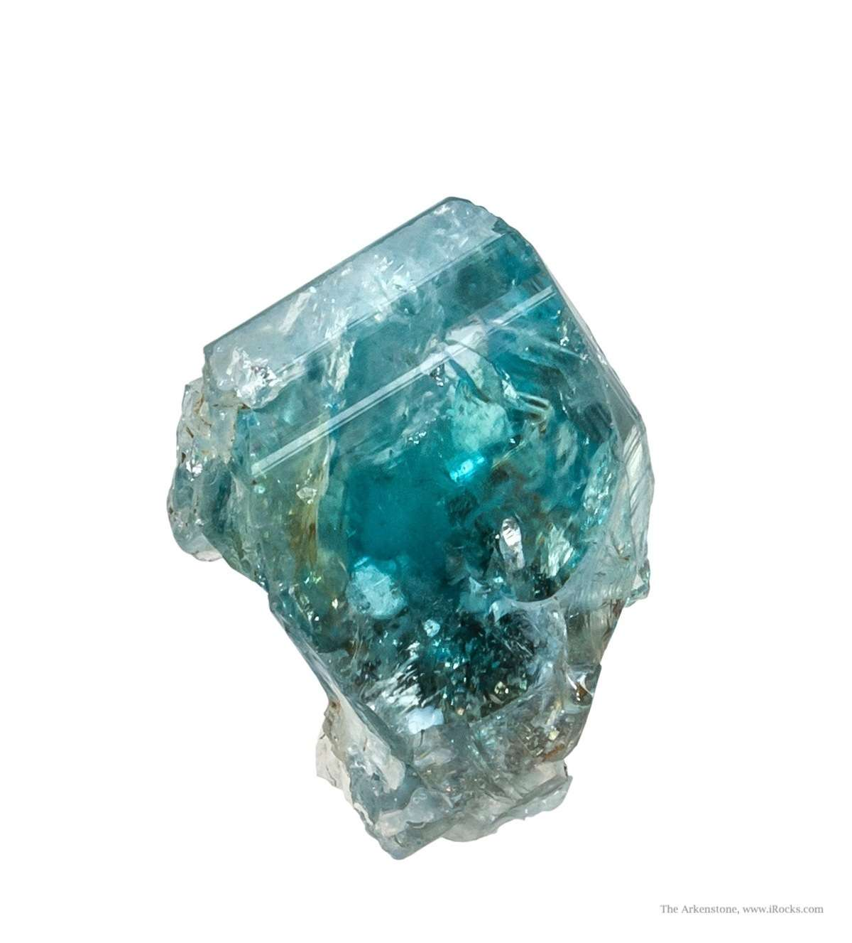 From near famous emerald mines glassy gemmy bright blue euclase