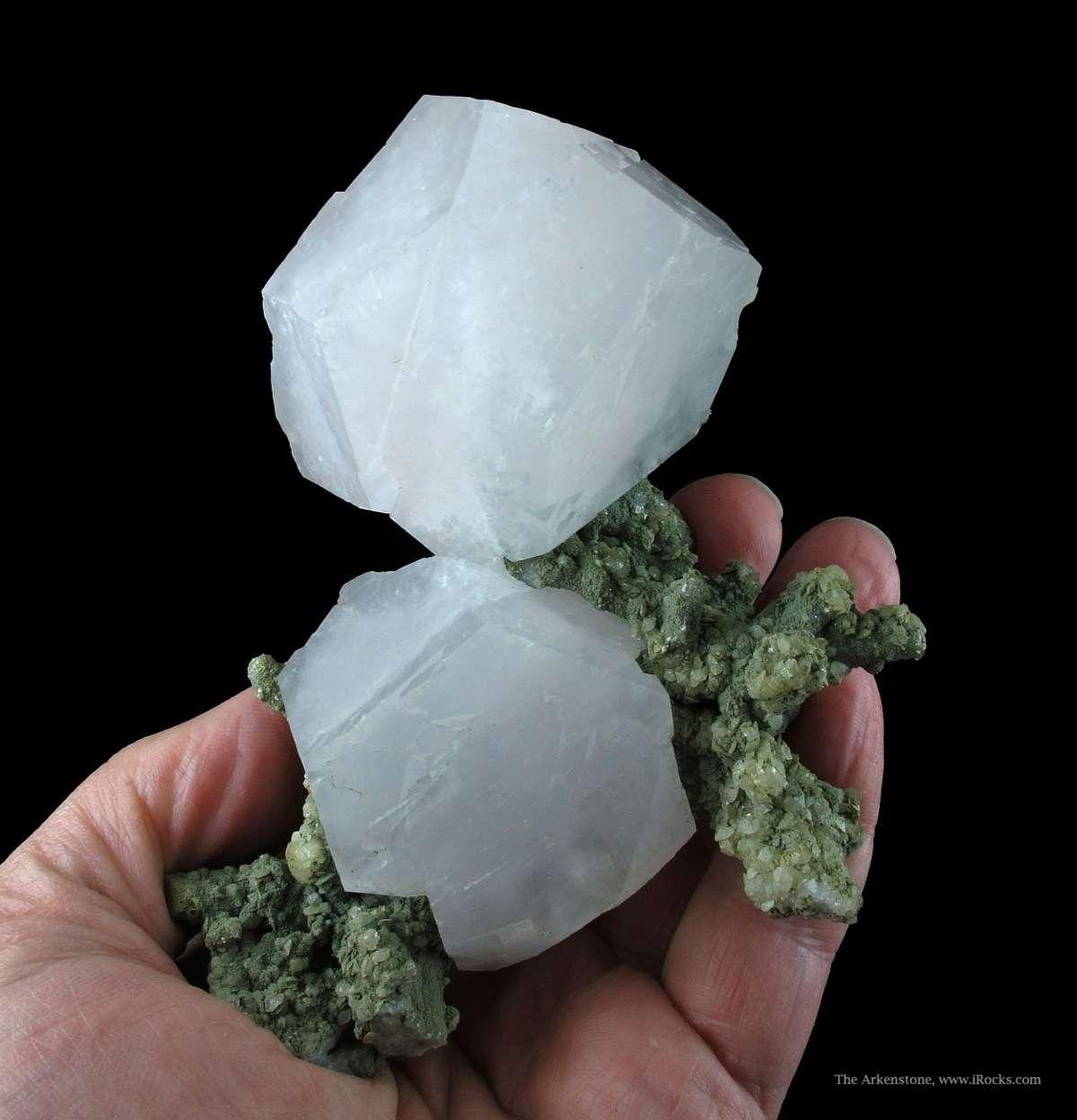 Absolutely stellar pair Manganoan Calcite crystals Quartz famous