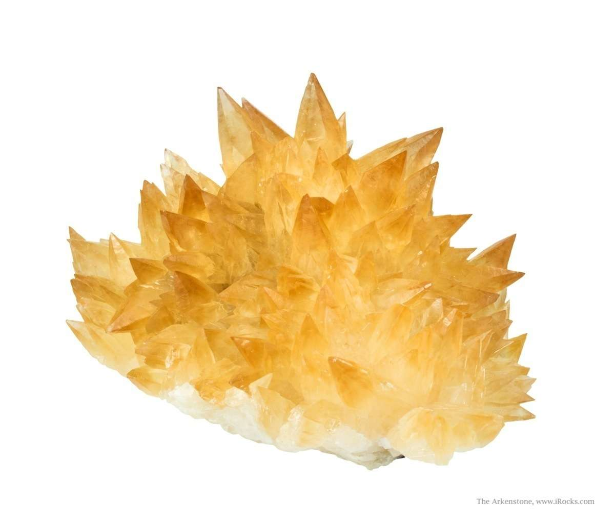 NOT just pointy calcite This lovely hedgehog cluster intensely golden