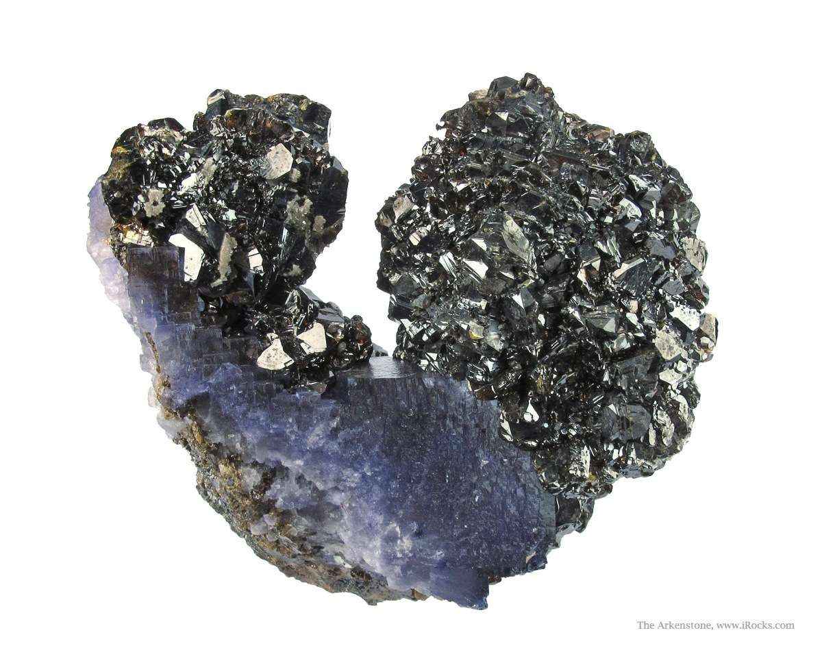 This glittering U shaped cluster purple Fluorites dramatically coated