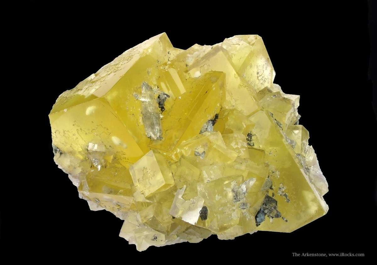 A bright colorful cluster rich yellow Fluorite cubes Minerva Mine The