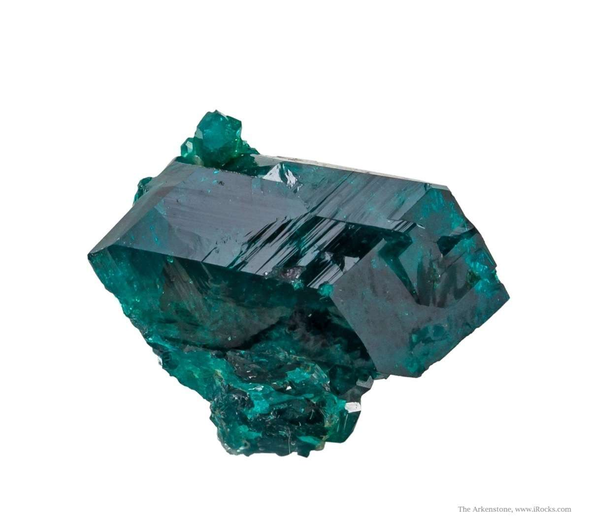 This dramatic thumbnail crystal dioptase perched pedestal massive