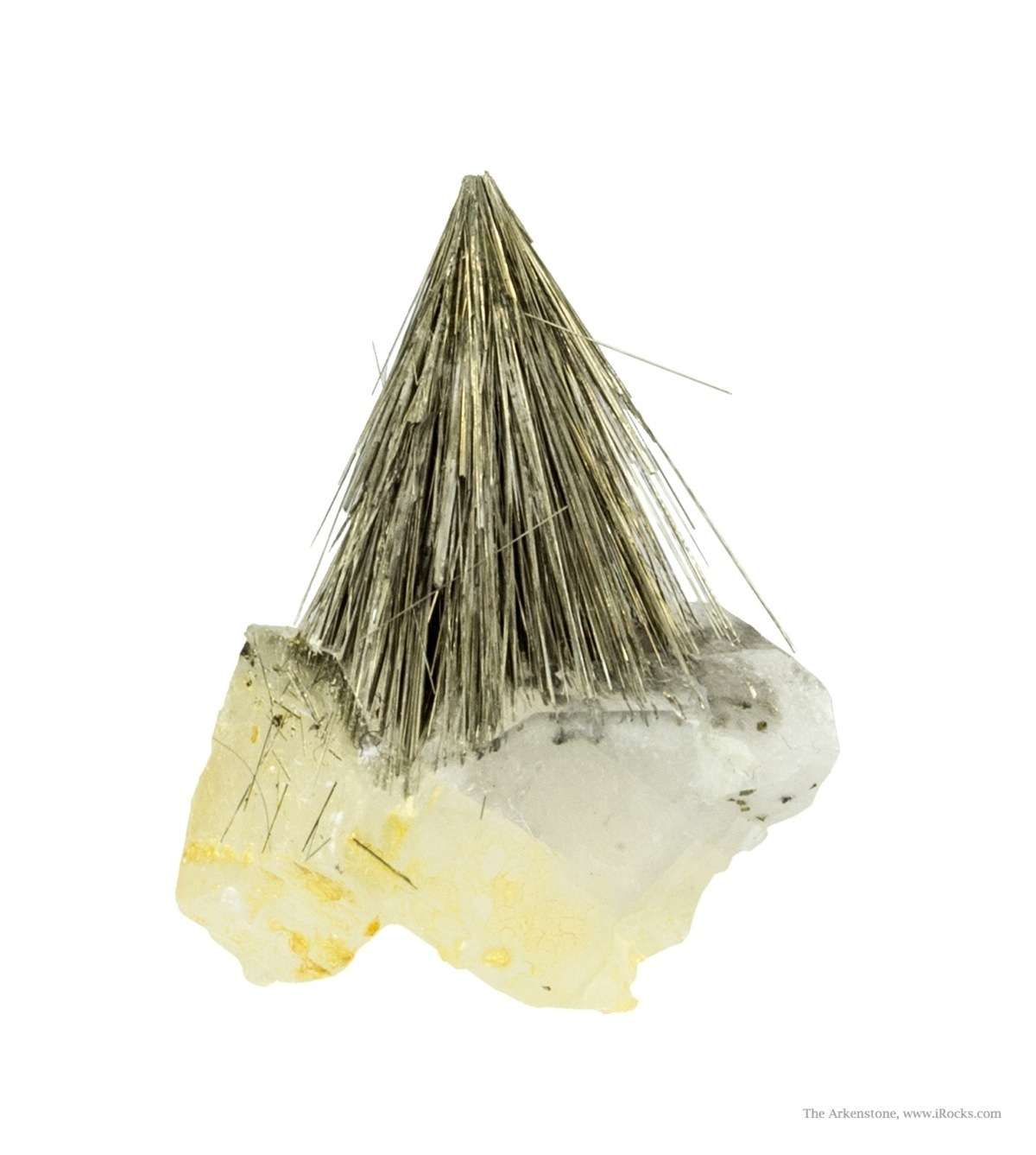 A rich spray acicular millerite crystals 2 cm length perched calcite