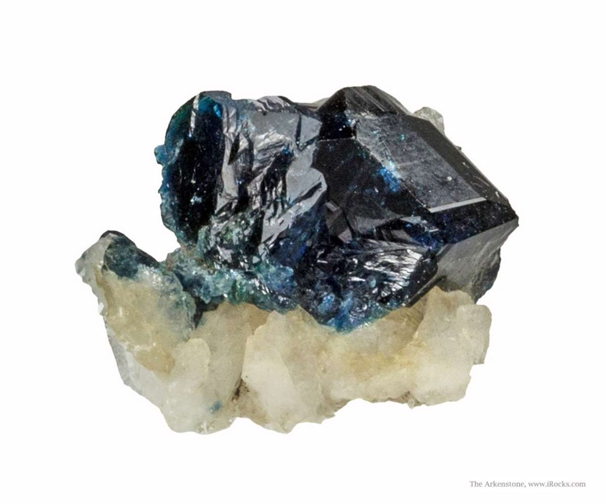 A single sharp 1 25 cm lazulite crystal dramatically perched little
