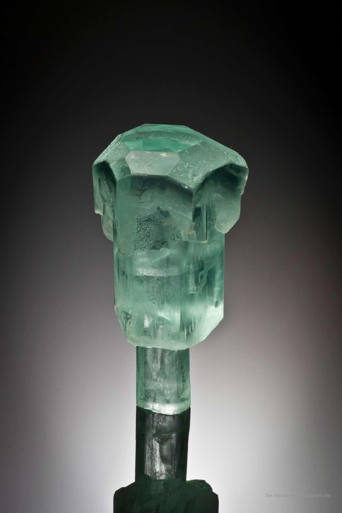 This 360 degree specimen unusual sceptered aquamarine dramatic form