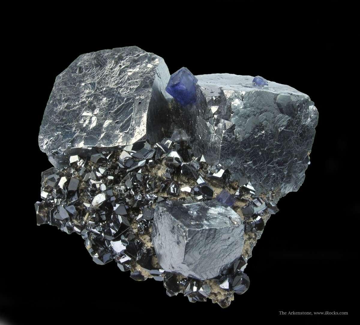 Galena and Fluorite on Sphalerite - RLIL14B-03 - Sub ... Minerals
