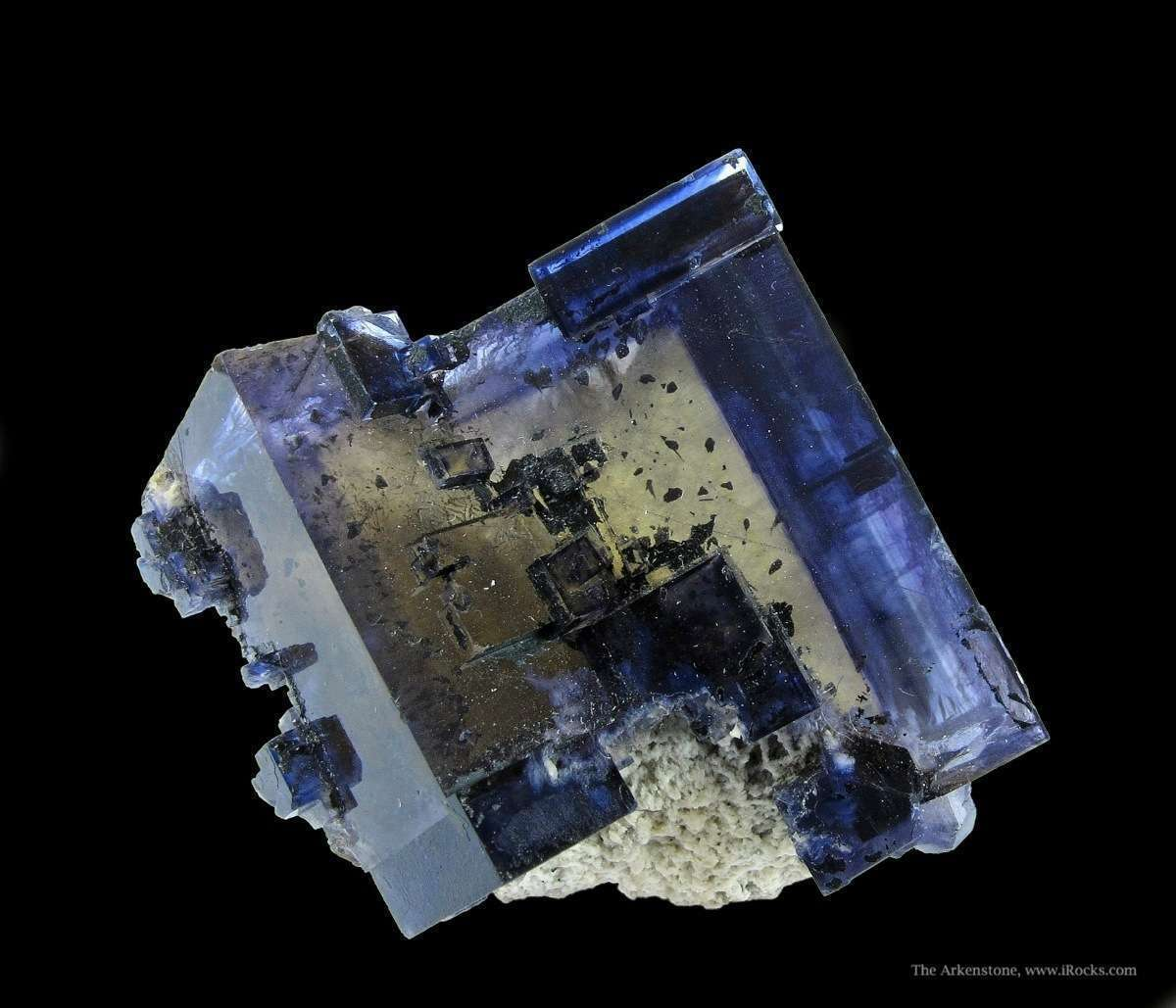 Sharp quite refined pair penetrating Fluorite crystals classic form
