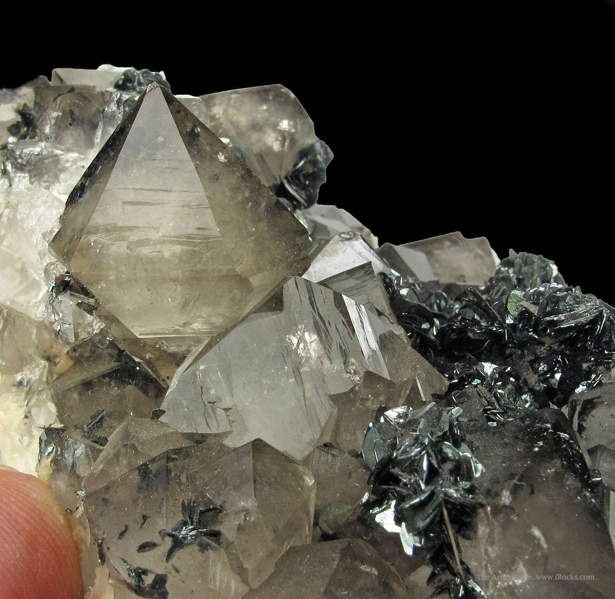Very glassy lustrous Smoky Beta Quartz crystals 2 cm dominate choice