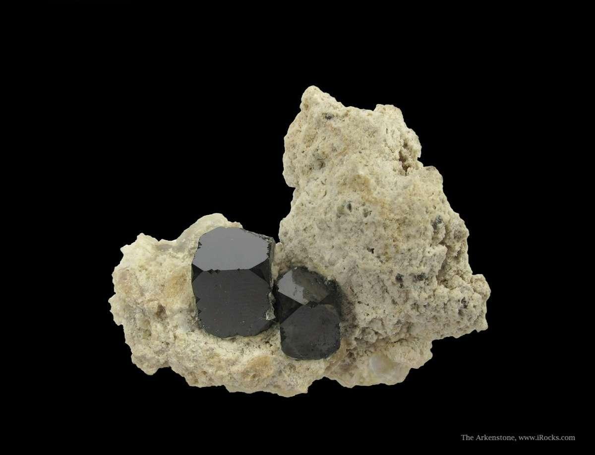 Superb crystal pair rare manganese oxide Bixbyite Rhyolite matrix