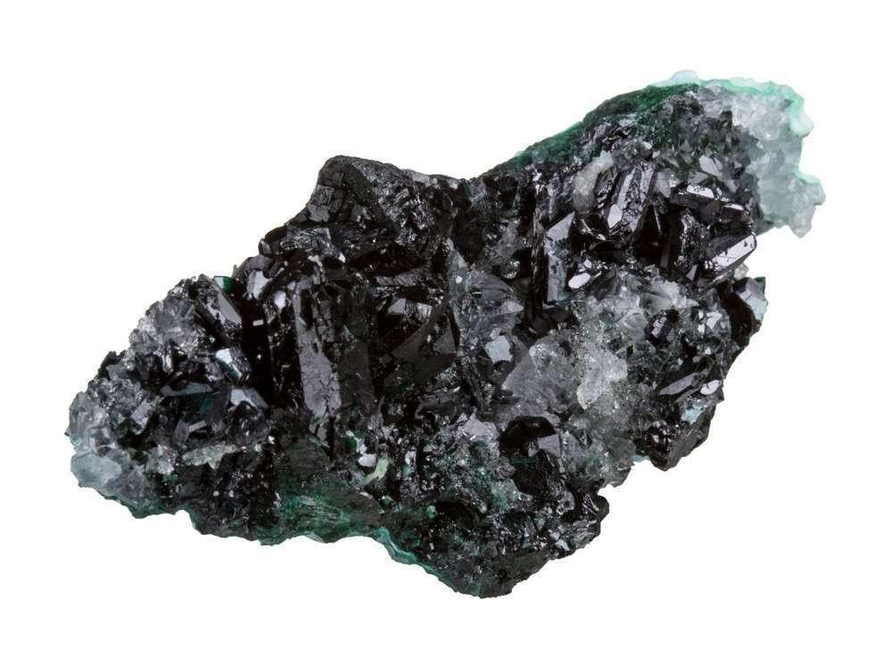 A matrix chrysocolla glassy colorless quartz host lustrous dark green