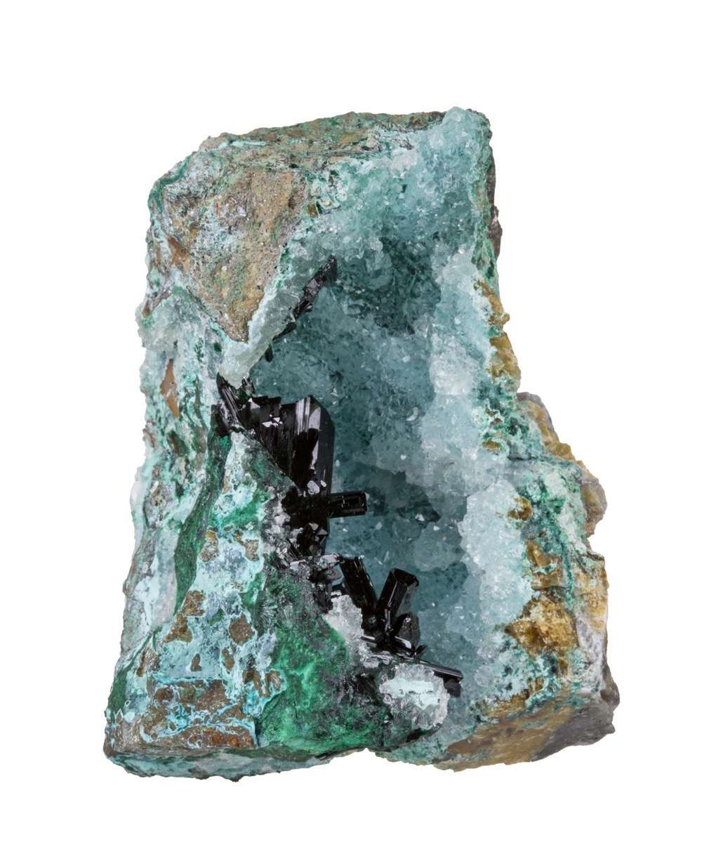 Nestled aesthetically drusy quartz vug infused minor chrysocolla color