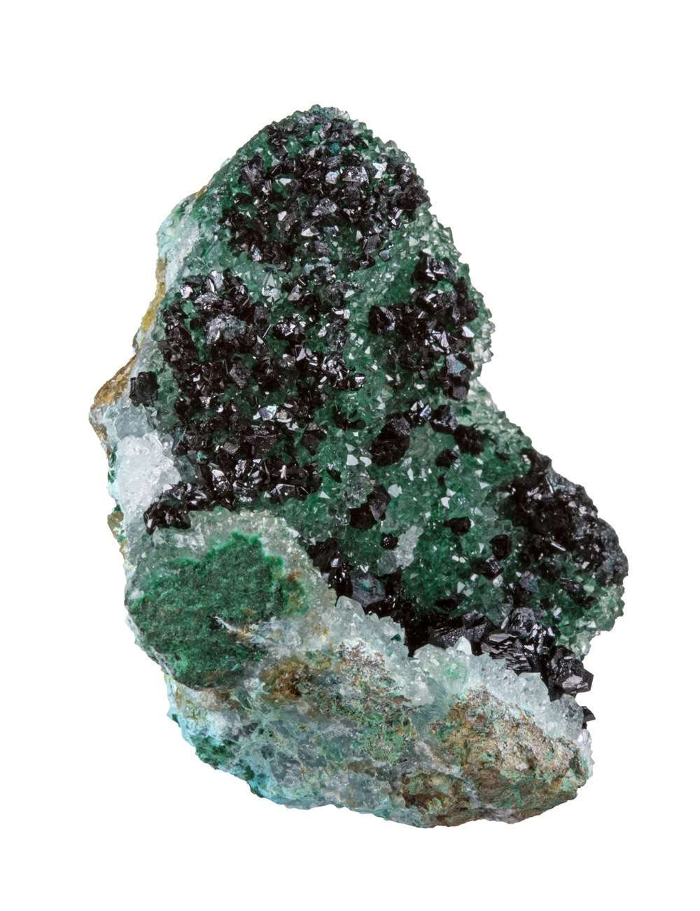 A drusy quartz vug heavily included bright green malachite atacamite