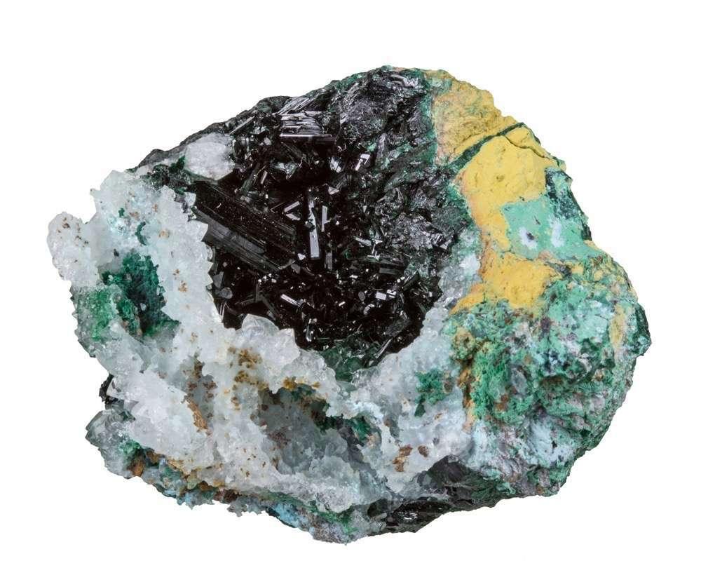 Nestled aesthetically quartz vug cluster lustrous dark blackish green