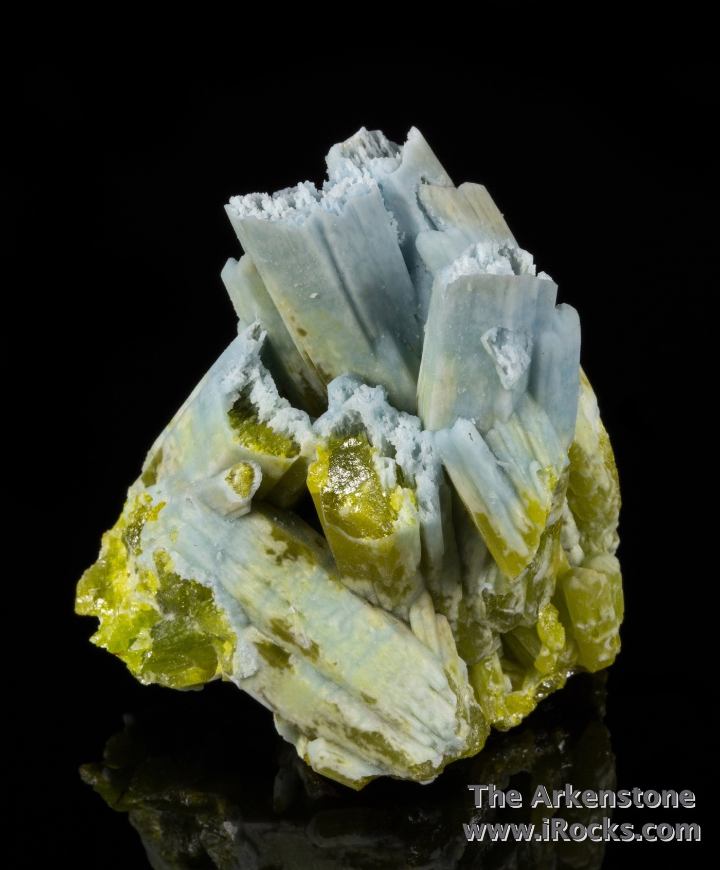 A cluster vertically oriented plumbogummite replaced crystals 4 cm