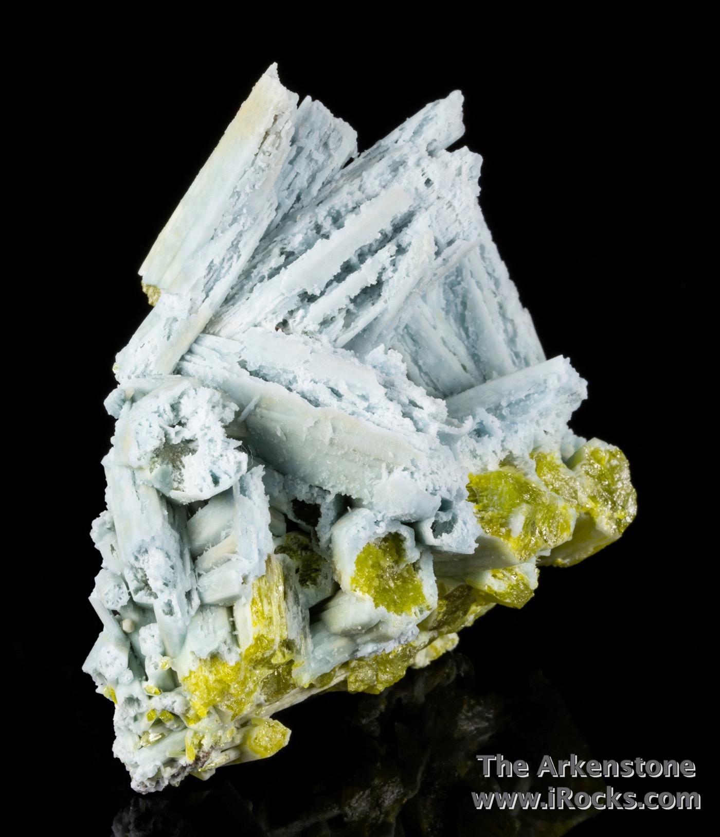 Sky blue crystals 3 7 cm length hoppered plumbogummite ps pyromorphite