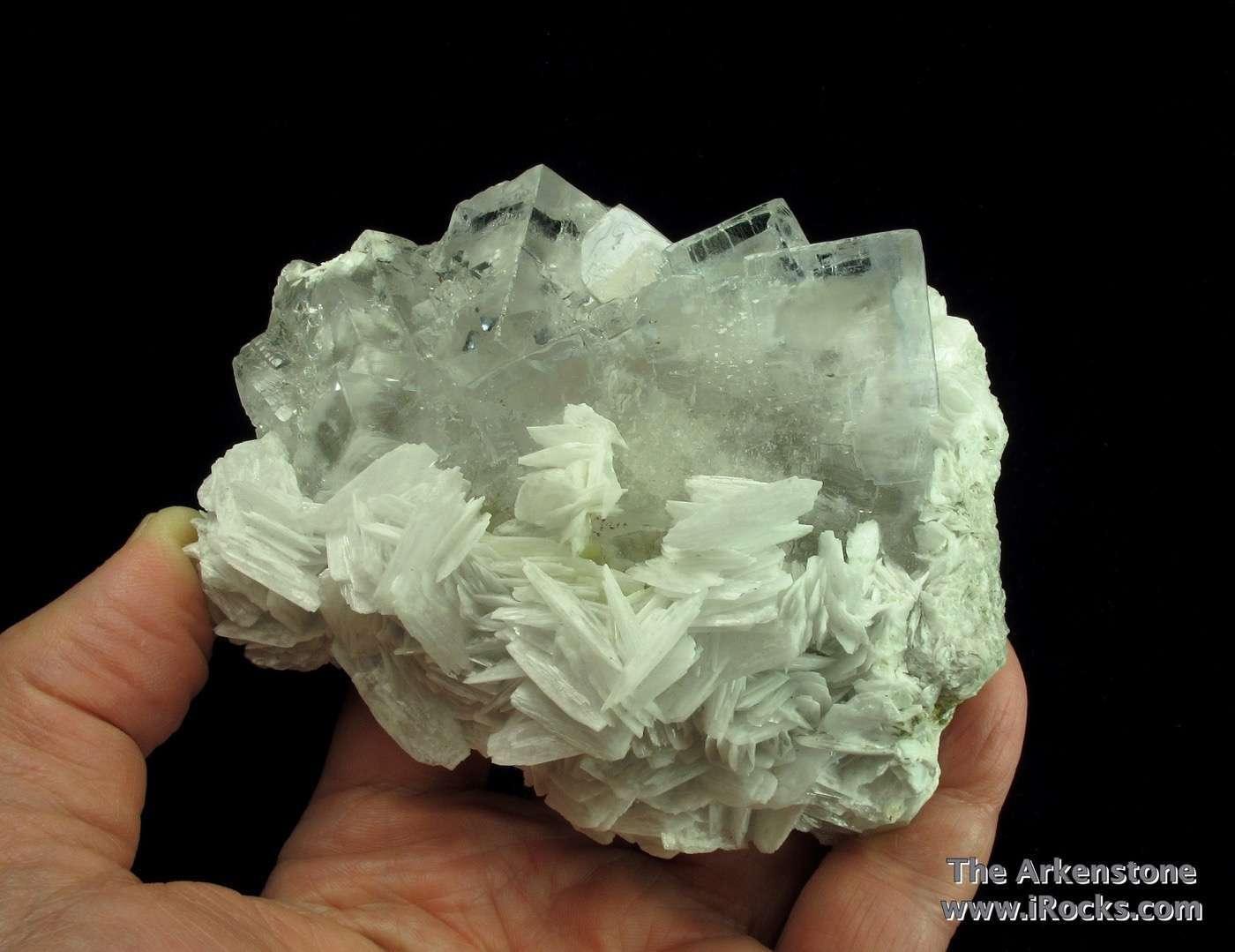 Lustrous gemmy clear Fluorites just slightest hint pale lavender grey