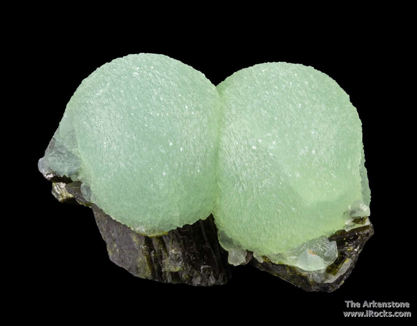This piece composed lustrous translucent apple green spheres prehnite