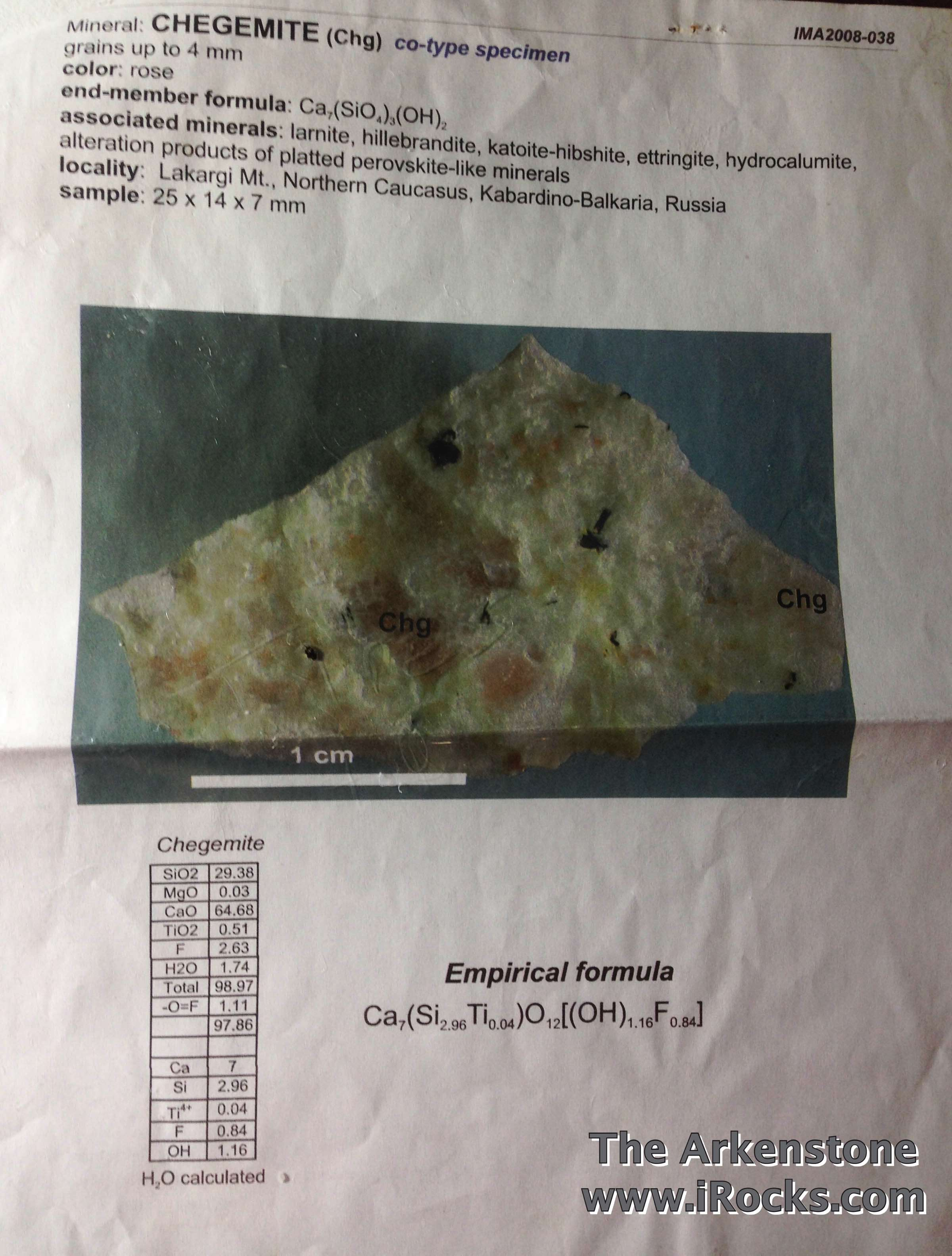 A type specimen Chegemite approved 2008 calcium hydroxyl end member
