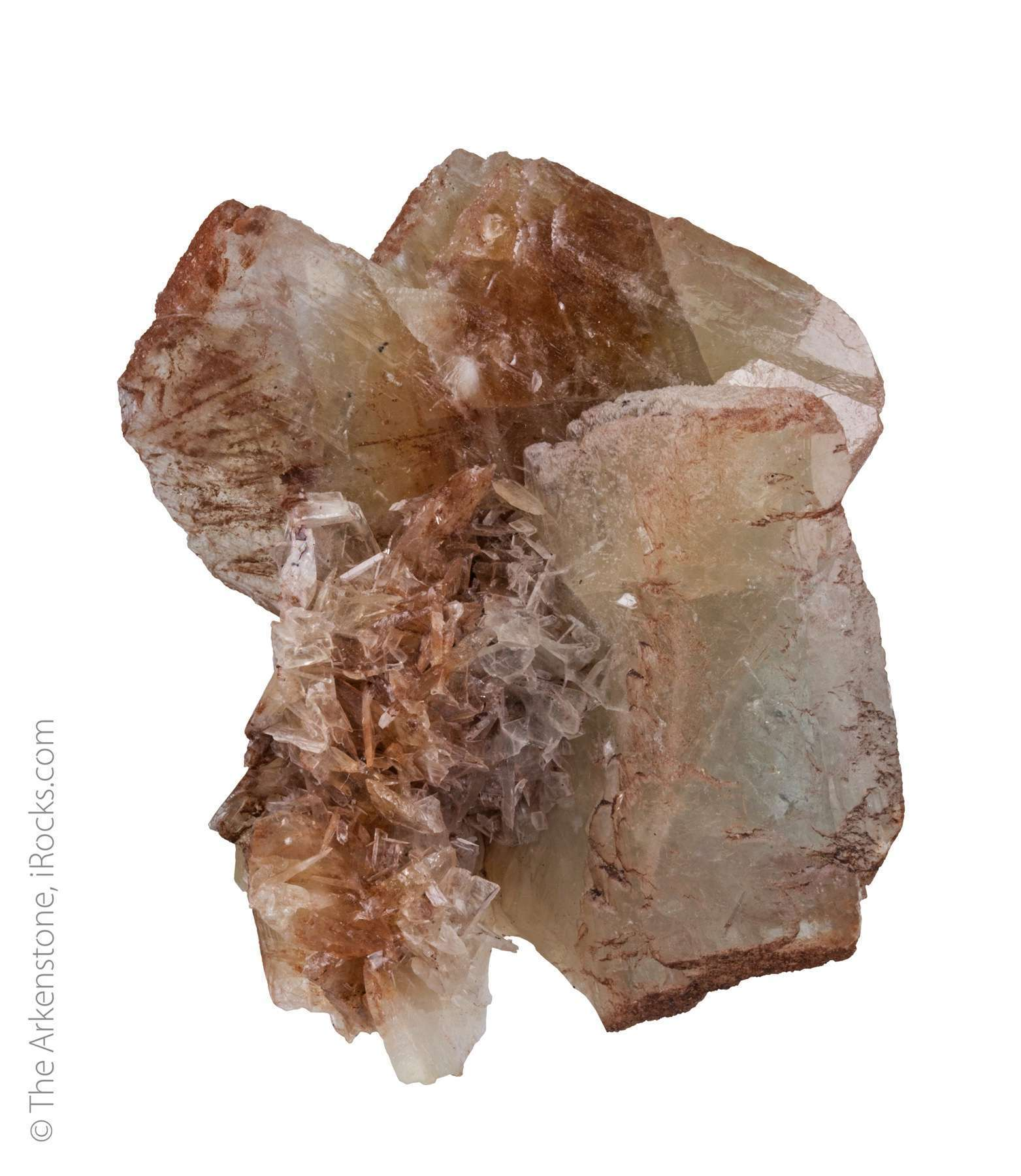 Three large tabular crystals 5 cm length lustrous translucent tan